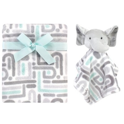 Luvable Friends Baby Boy Plush Blanket and Security Blanket, Elephant Maze, One Size