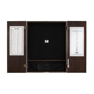 Viper 40-0407 Solid Pine Metropolitan Sisal Bristle Steel Tip Dartboard Cabinet, Espresso Finish
