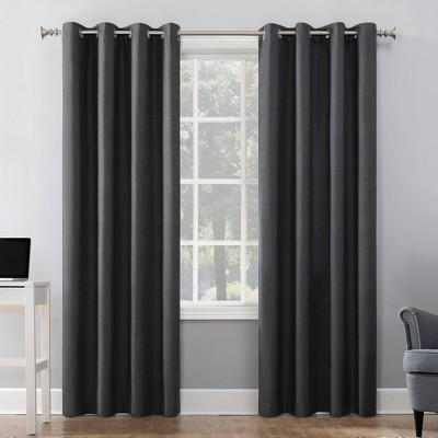 "108""x50"" Duran Thermal Insulated Total Blackout Grommet Top Curtain Panel Charcoal - Sun Zero"