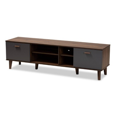 "70"" TV Stand Moina Two-Tone Wood Walnut/Gray - Baxton Studio"