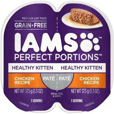 Iams Perfect Portions Grain Free Paté Premium Wet Cat Food Chicken Recipe Healthy Kitten - 2.6oz