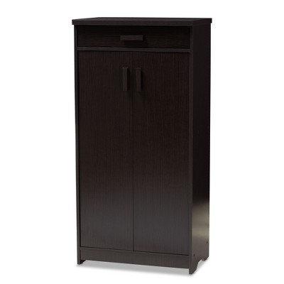 Bienna Modern and Contemporary Finished Shoe Cabinet Dark Brown - Baxton Studio