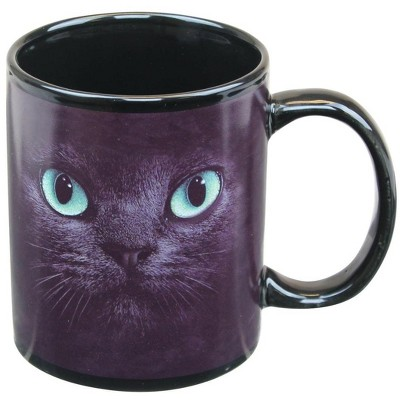 Just Funky Black Cat With Green Eyes 11oz Coffee Mug