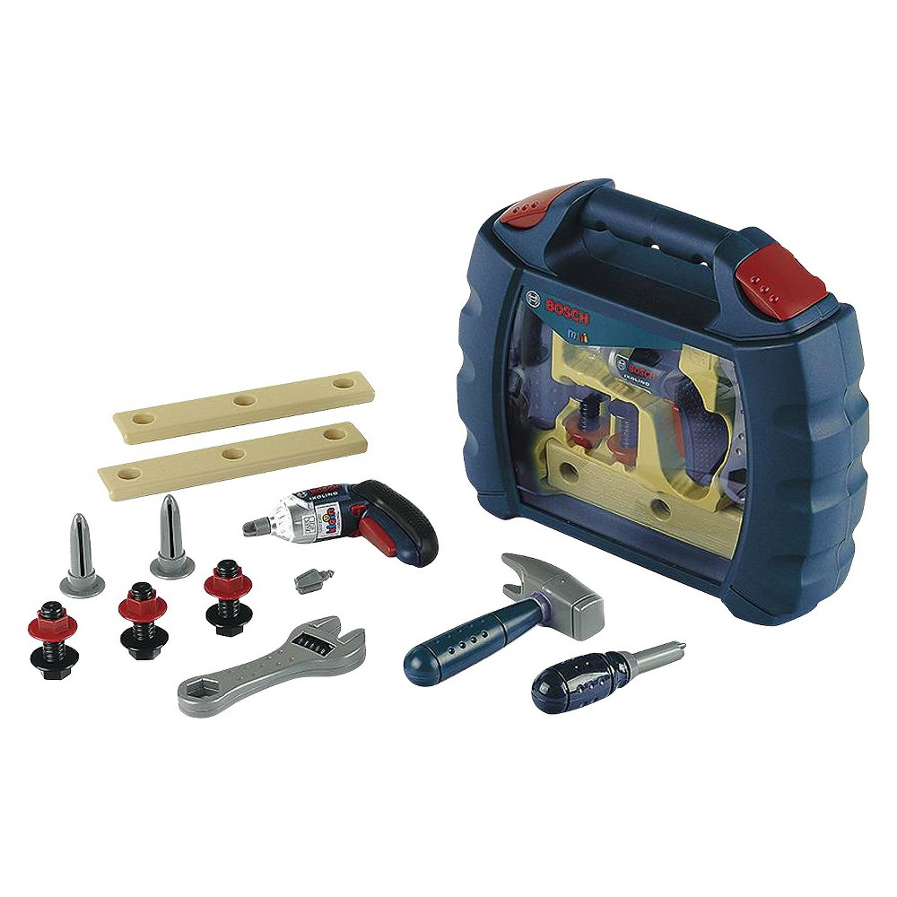 Theo Klein Bosch Tool Set Case with Ixolino Your child will love helping around the house with this Bosch tool set from Theo Klein. The durable case holds a range of sturdy plastic tools designed for smaller hands, including a hammer, a wrench and more. The battery-operated screwdriver actually works, and it includes removable heads for more realistic play. Gender: Male.