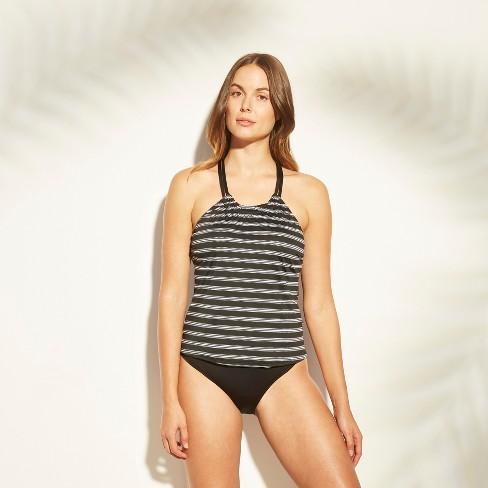 3bd7d8f24538f Women's High Neck Racerback Tankini Top - Clean Water Black/White Stripe :  Target