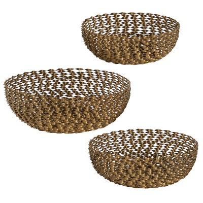Set of 3 Round Modern Metal Basket Gold - Olivia & May
