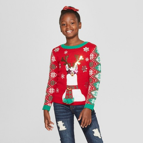 Girls Llama Family Ugly Christmas Sweater 33 Degrees Red Target