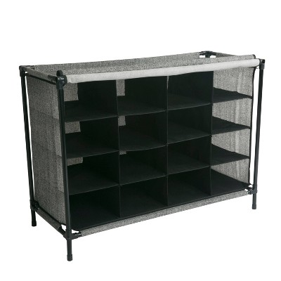 Simplify 16 Compartment Shoe Cubby Black