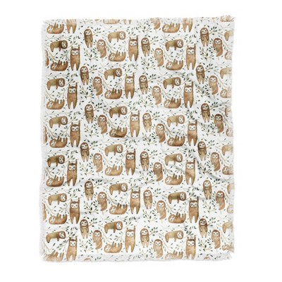 Dash and Ash Sloth Buds Woven Throw Blanket Brown - Deny Designs