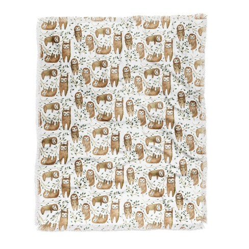 Dash and Ash Sloth Buds Woven Throw Blanket Brown - Deny Designs - image 1 of 2