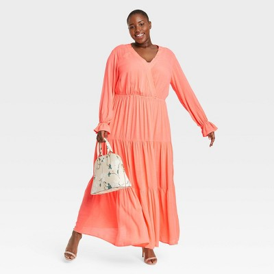 Women's Plus Size Long Sleeve Tiered Maxi Dress - Ava & Viv™