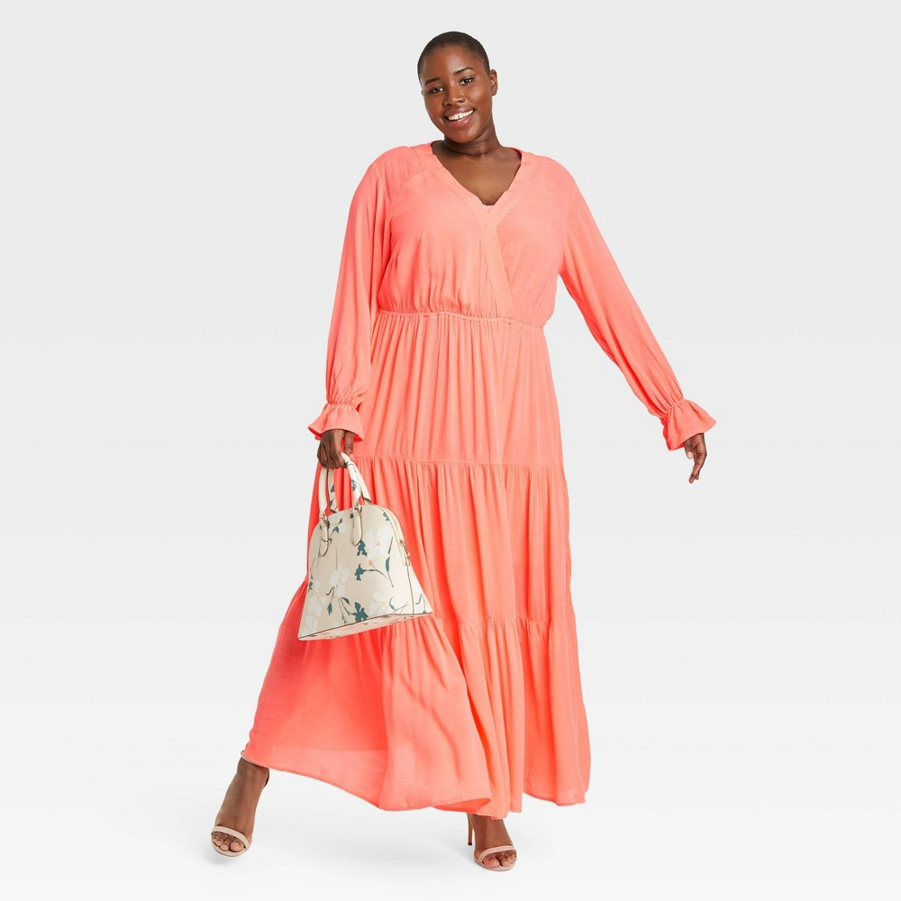 Women 39 S Plus Size Long Sleeve Tiered Maxi Dress Ava 38 Viv 8482 Coral 2x