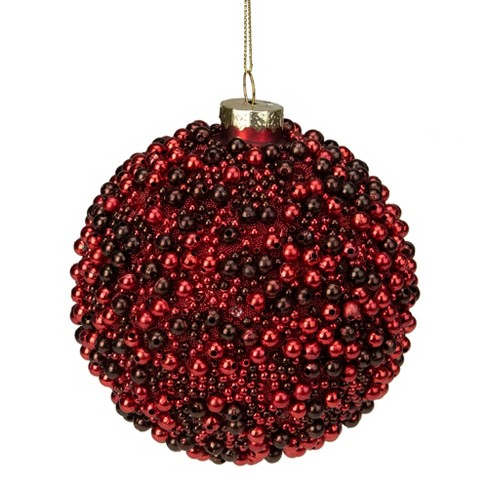 Melrose 2 Finish Red And Black Beaded Glass Christmas Ball Ornament 4 75 120mm Target