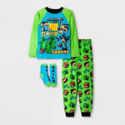 Boys' Minecraft 3pc Pajama Set - Green