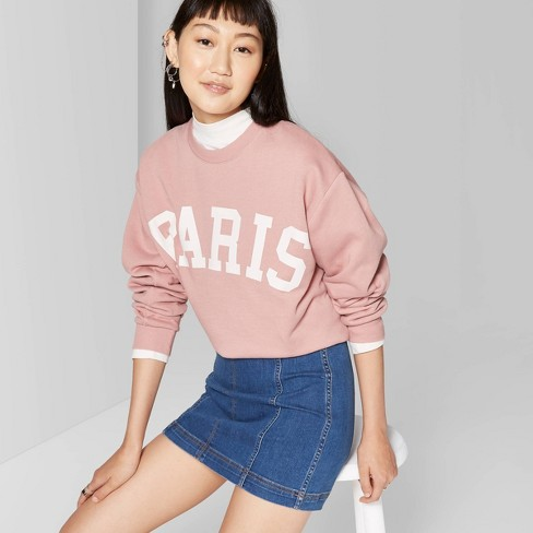 Women's Long Sleeve Oversized Crewneck Sweatshirt With Paris Graphic - Wild Fable™ Toasted Pink - image 1 of 3