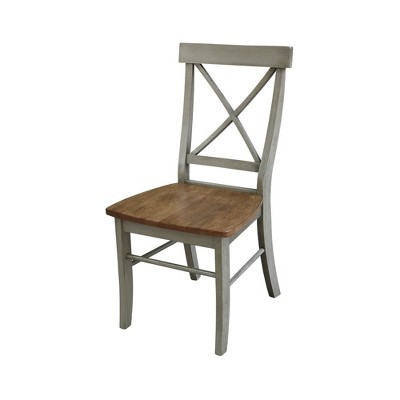 Set of 2 X Back Chairs with Solid Wood Seat Natural - International Concepts