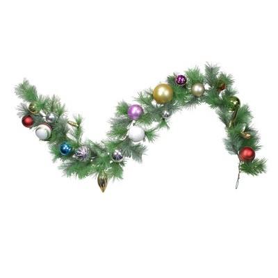 "Northlight 6' x 9"" Unlit Shiny Ball Ornament Long Needle Pine Artificial Christmas Garland"