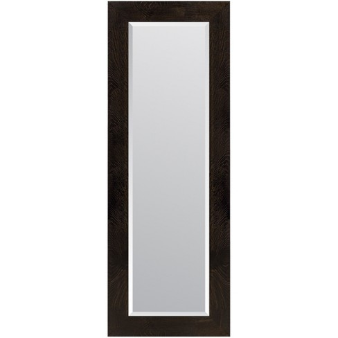 "16""x57"" Woodgrain Framed Beveled Wall or Leaner Mirror Black - Gallery Solutions - image 1 of 6"