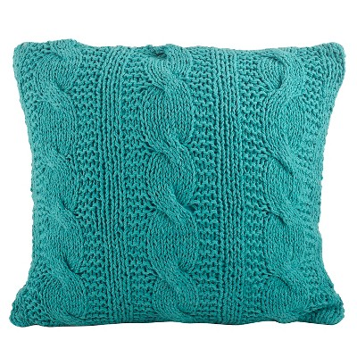 Turquoise Cable Knit Design Throw Pillow (20 x20 )Saro Lifestyle