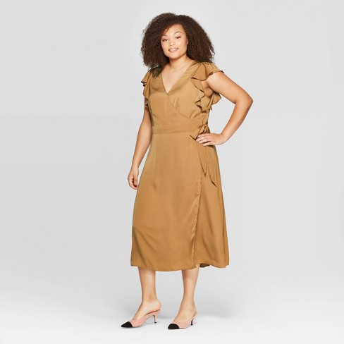 Women\'s Plus Size Flutter Short Sleeve V-Neck Midi A Line Dress - Who What  Wear™ Brown 3X