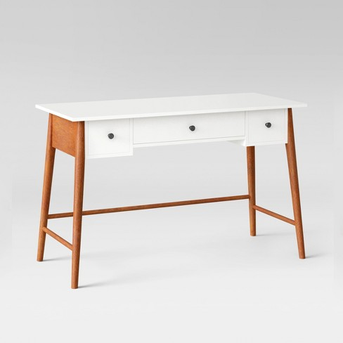Amherst Mid Century Modern Three Drawer Writing Desk White Brown Project 62 Target