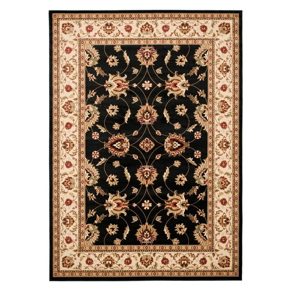 8'9X12' Floral Loomed Area Rug Black/Ivory - Safavieh