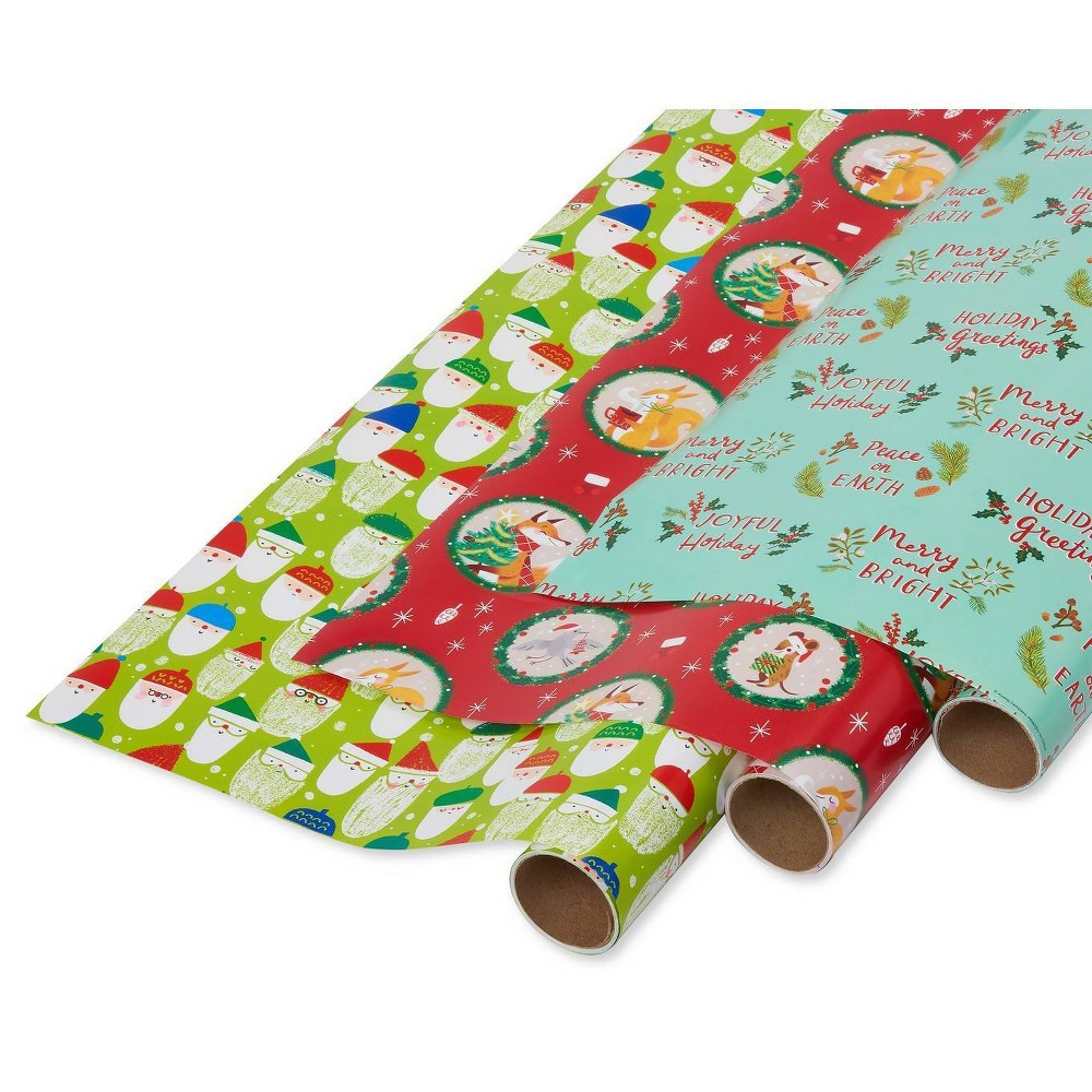 Image of 3ct Papyrus Santa Toss Holiday Friends and Peace on Earth Gift Wrap, Red