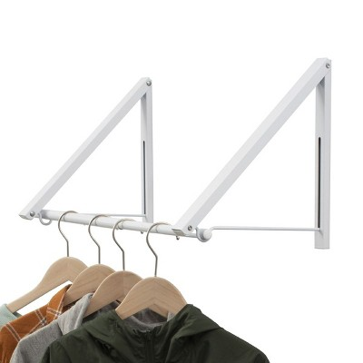 """Juvale 18""""-32"""" Extendable Folding Clothes Drying Rack, Wall Mounted Retractable Laundry Clothing Rack for Indoor & Outdoor, Metal White"""