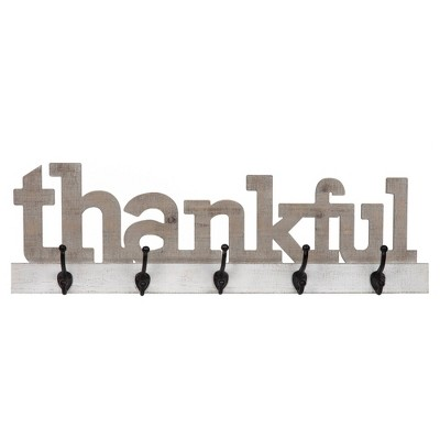 "10"" Thankful Wood Cut Out Wall Sign with Hooks Off White/Gray - Patton Wall Décor"