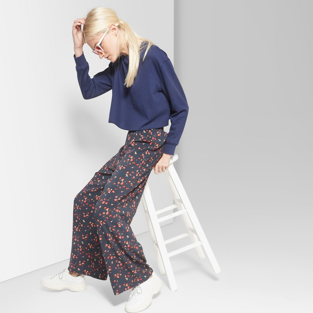 Women's Floral Wide Leg Palazzo Pants - Wild Fable Black Xxl