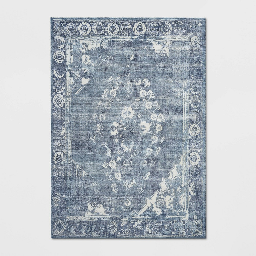 9'X12' Distressed Floral Medallion Area Blue - Threshold