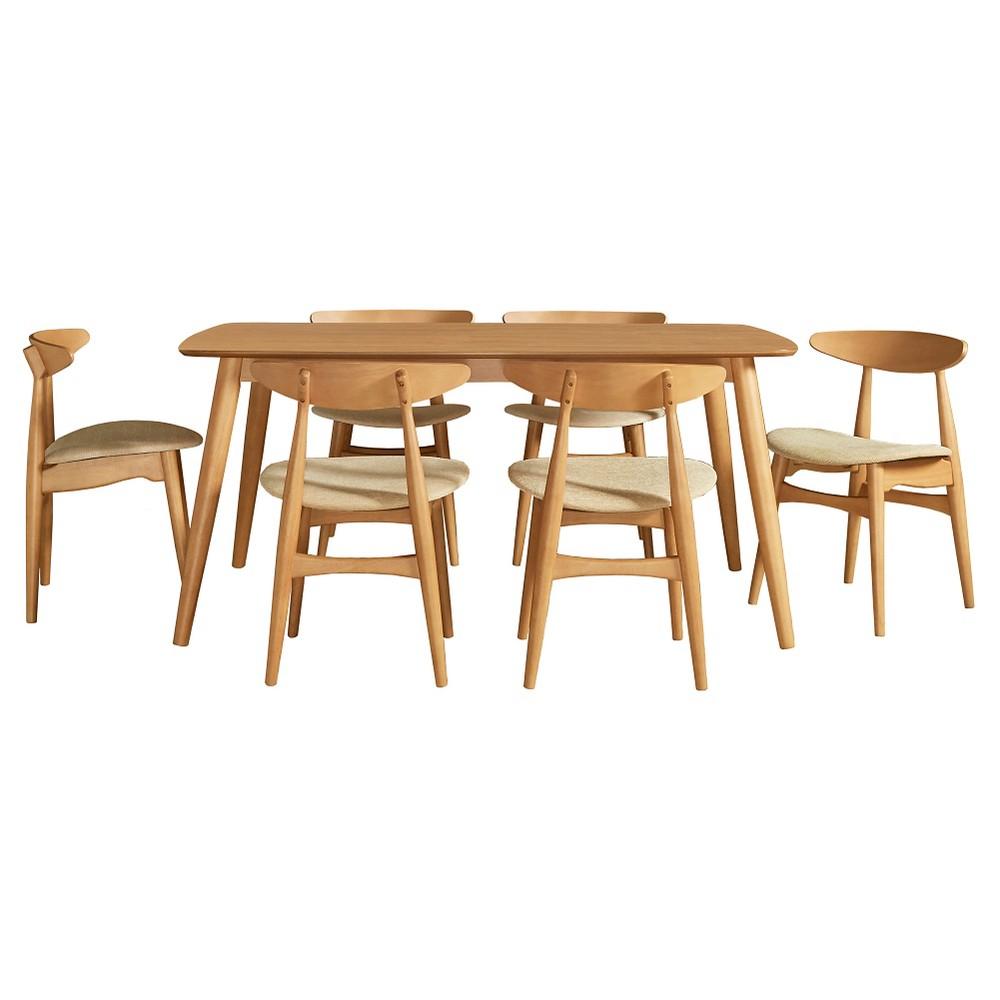 Cortland Danish Modern Natural 7-Piece 66 Dining Set - Natural / Beige - Inspire Q, Natural/Beige