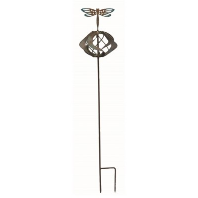 Transpac Metal 28 in. Bronze Spring Kinetic Dragonfly Yard Stake