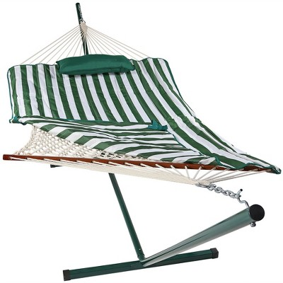 Rope Hammock with Quilted Pad/Pillow and Stand - Green and White Stripe - Sunnydaze Decor
