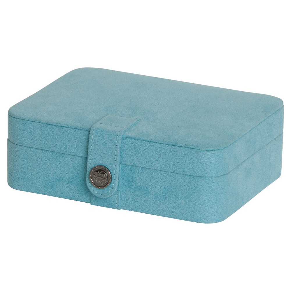 Image of Mele & Co. Giana Women's Plush Fabric Jewelry Box with Lift Out Tray-Aqua, Size: Small, Blue