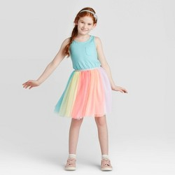 Girls' Tutu Rainbow Dress - Cat & Jack™ Aqua