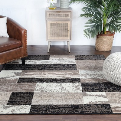 Contemporary Geometric Patchwork Polypropylene Indoor Area Rug or Runner by Blue Nile Mills