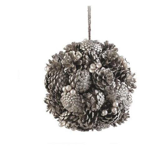 """Napa Home and Garden 7.5"""" Vintage Pine Cone and Pearl Artificial Christmas Topiary Ball Ornament - Platinum - image 1 of 1"""