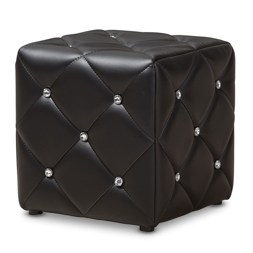 Stacey Modern and Contemporary Faux Leather Upholstered Ottoman Black - Baxton Studio