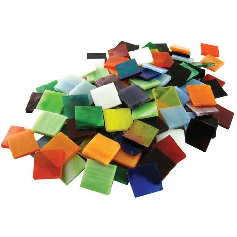 Jennifer's Mosiacs Stained Glass Mega Square Mosaic Tile, 3/4 X 3/4 in, Assorted Color, 8 lb Bag, pk of 900 - image 1 of 1