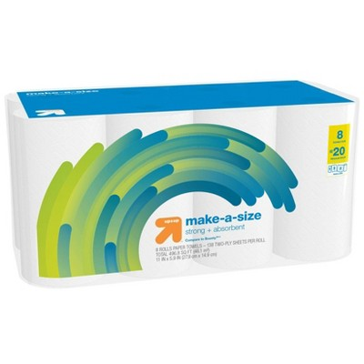 Make-A-Size White Paper Towels - 8 Double Plus = 20 - Up&Up™