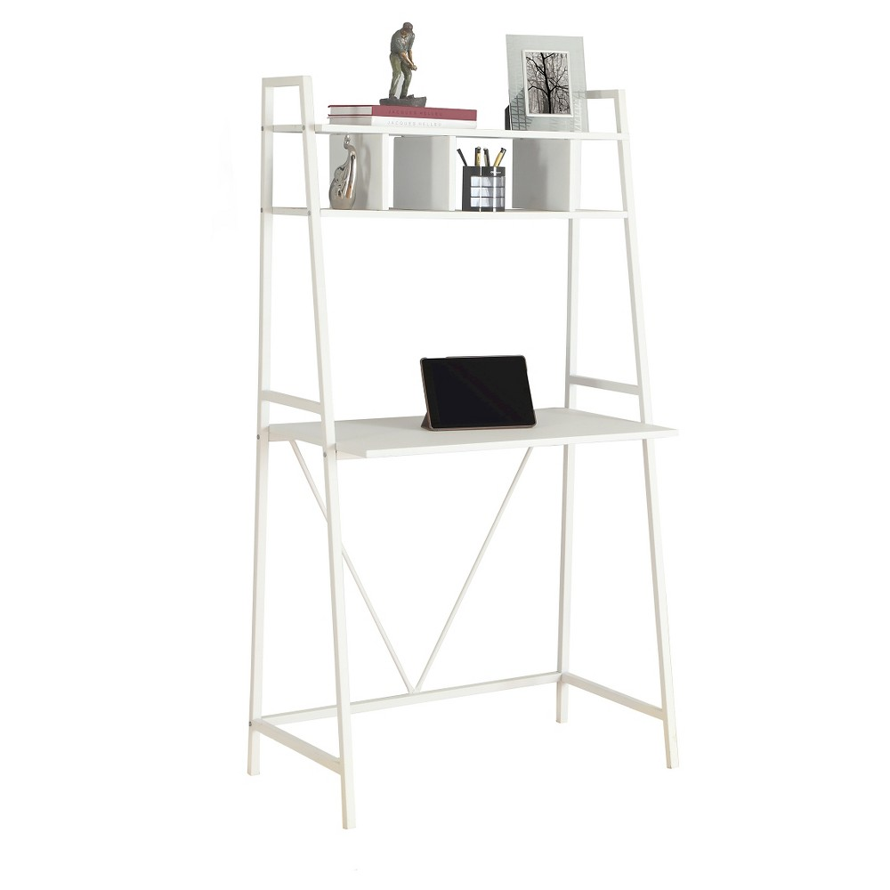 Space Saving White Top Computer Desk - White Metal - EveryRoom