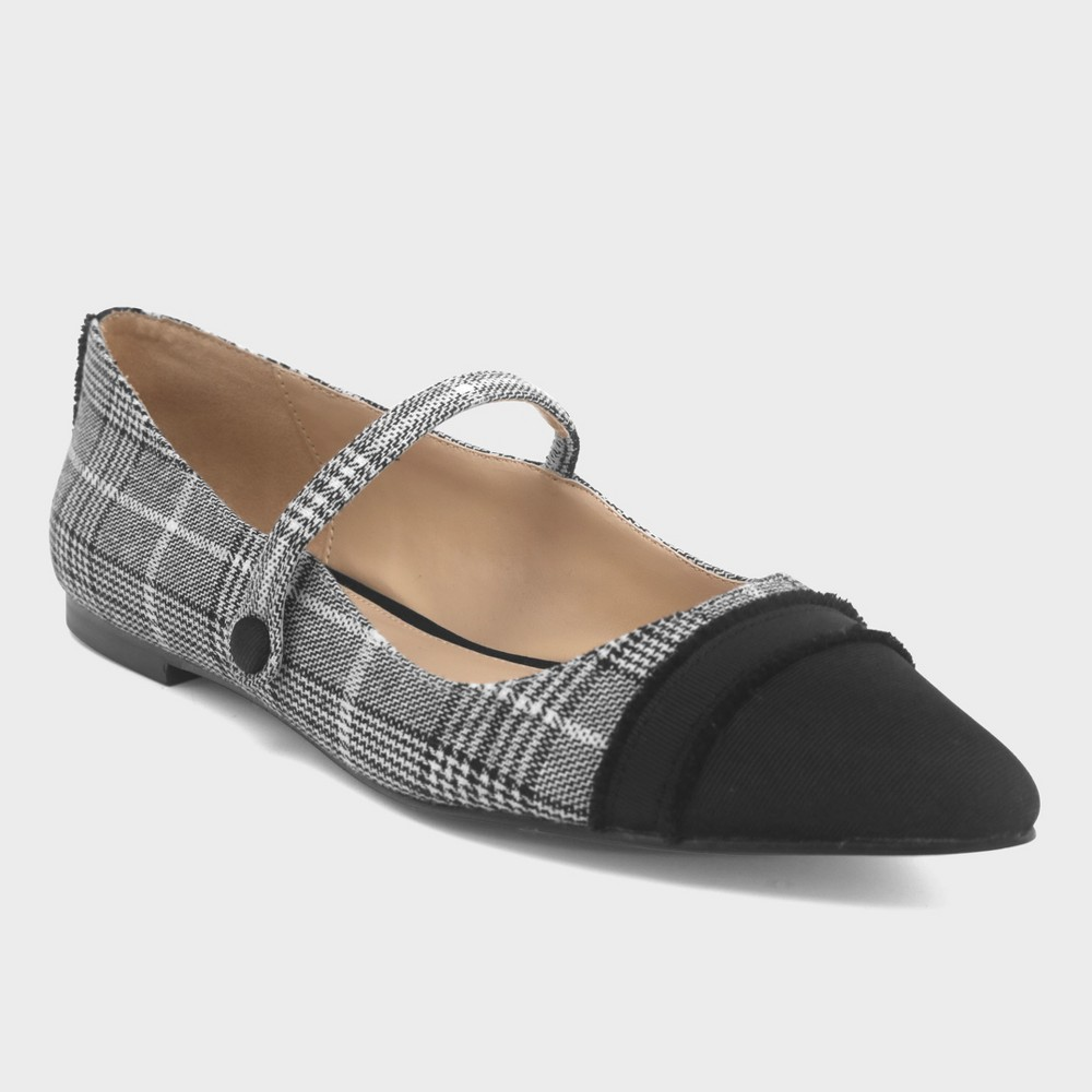 Women's Nellie Plaid Mary Jane Flats - Who What Wear Gray 6