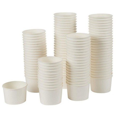 100-Pack 5-Ounce Disposable Paper Ice Cream Cups, Yogurt Dessert Bowls Party Treat Cups, BPA Free / Food Grade, White - image 1 of 4