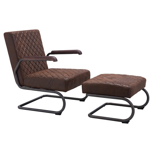 Distressed Upholstered and Dark Steel Lounge Chair Set - ZM Home - image 1 of 9