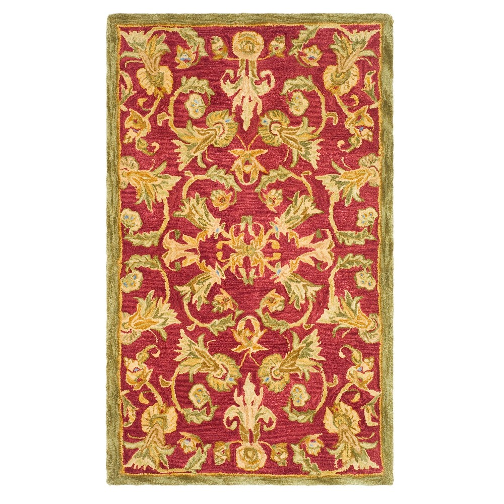 Burgundy/Sage Floral Tufted Accent Rug 3'X5' - Safavieh, Red Brown