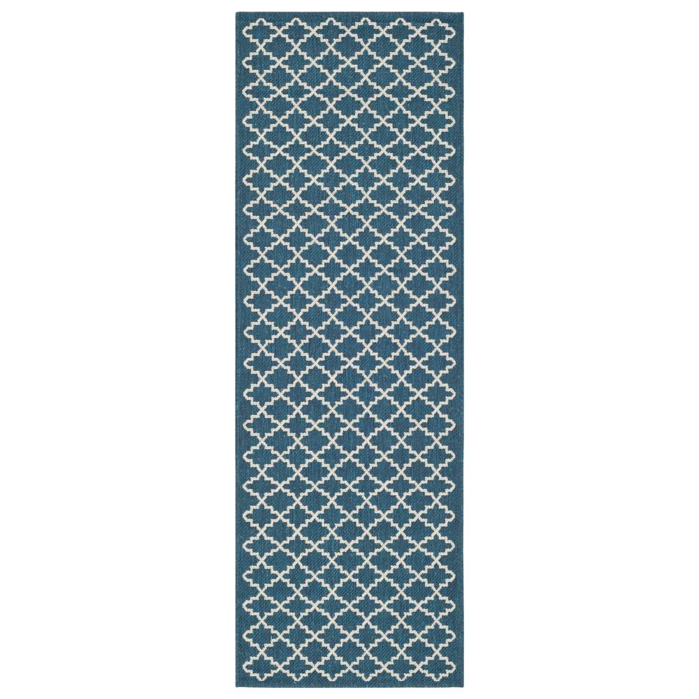 Lamare Rectangle 2'3 X 10' Patio Rug - Navy / Beige - Safavieh, Blue