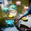 6ct Floating Lotus Paper Lantern Turquoise - image 2 of 3