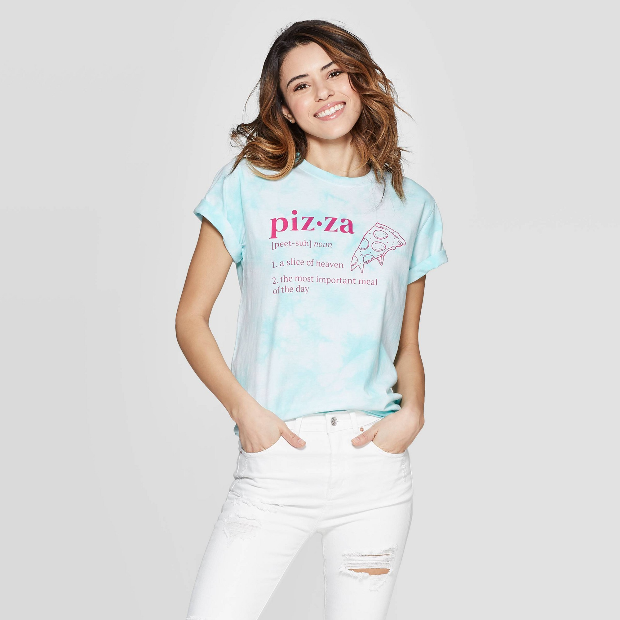 Women's Short Sleeve Pizza T-Shirt - Mighty Fine (Juniors') - Teal Wash S, Blue