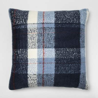 Faux Mohair Plaid Oversized Square Throw Pillow Blue - Threshold™